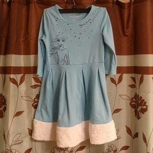 Disney Girls Frozen Faux Fur Trimmed Dress